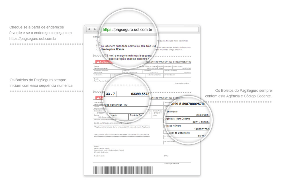 Imagem de um boleto enviado pelo PagSeguro. Cheque se a barra de endereços é verde e se o enderço começa com https://pagseguro.uol.com.br