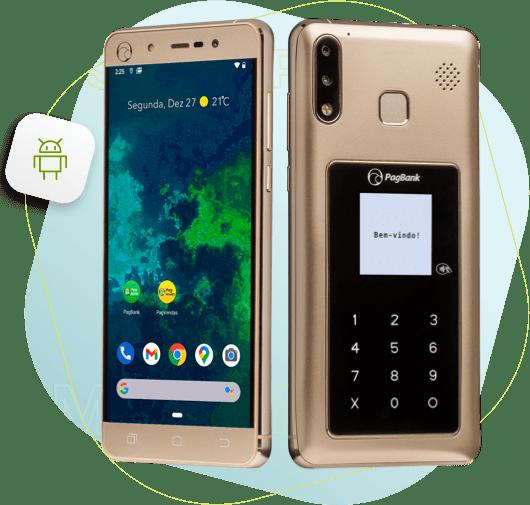 Imagem do PagPhone dourado mostrando a tela inicial e a parte traseira com a maquininha embutida