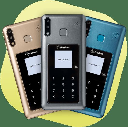 Imagem de cada cor do PagPhone: cinza, dourado e azul