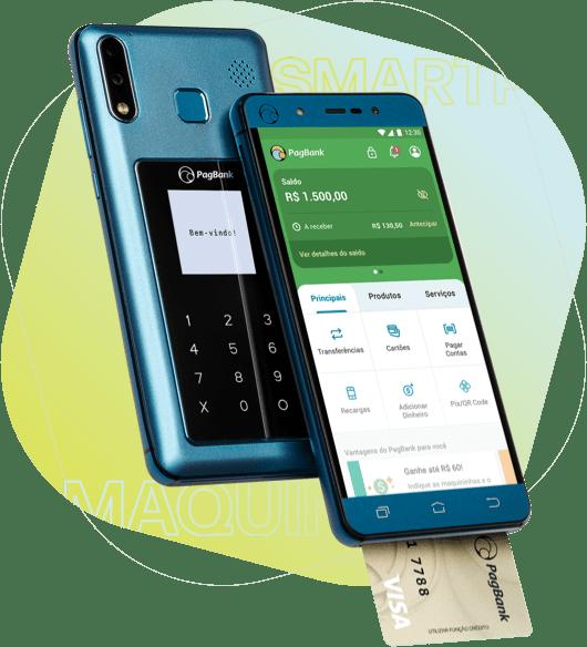 Imagem do Smartphone e maquinha PagPhone de frente e verso